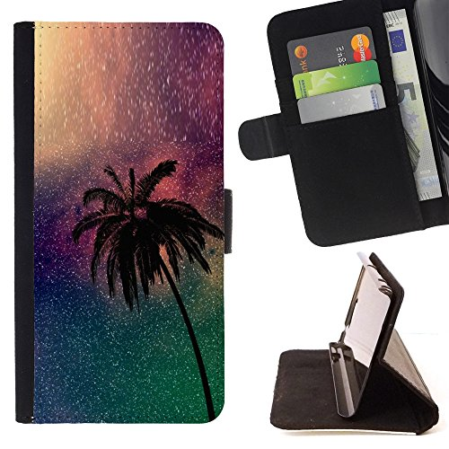 DEVIL CASE - FOR Samsung Galaxy S4 Mini i9190 - Palm Tree Night Universe Miami Night - Style PU Leather Case Wallet Flip Stand Flap Closure Cover (Samsung S4 Mini Palm Tree Cases compare prices)