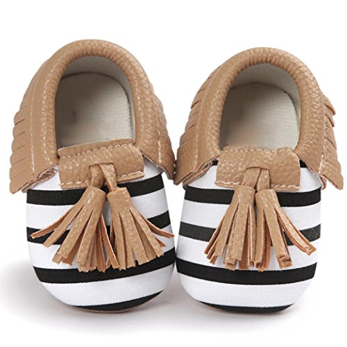 Voberry® Infant Toddlers Baby Boys Girls Soft Soled Tassel Crib Shoes PU Moccasins (12~18 Month, Brown stripe) (Walking Shoes For Babies compare prices)