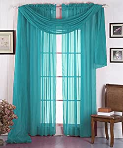 Luxurydiscounts 1 Piece Solid Turquoise Elegant Sheer Curtains Fully Stitched Panels