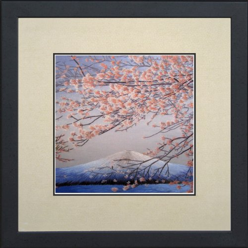 King Silk Art 100% Handmade Embroidery Mixed Group Feng Shui Japanese Cherry Blossoms Over Mount Fuji Large Framed Landscape Painting Birthday Party Gift Oriental Asian Wall Art D¨¦cor Artwork Tapestry Hanging Picture Gallery 37110WFG