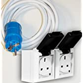Euro Schuko IP44 to 2 x IP54 13a Sockets 5m Cable IP44 250VAC Blue camping, Generator or industrial Hookup plug to Twin IP54 13Amp UK Mains socket outlets. Caravan, Tent, marine
