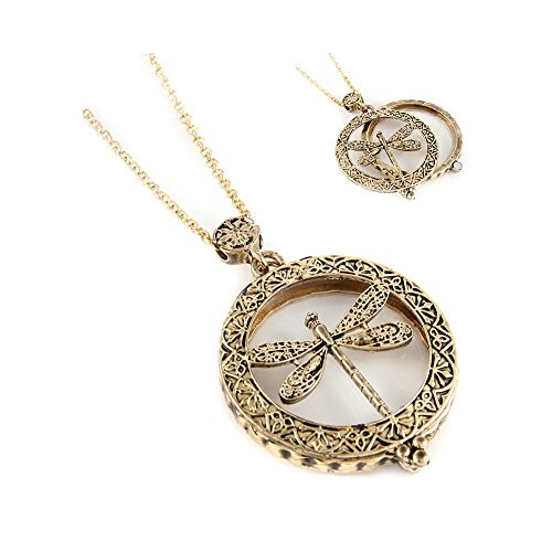 DragonFly-Necklace-Pendant-Gold-Tone-Magnifying-Glass-Gift-for