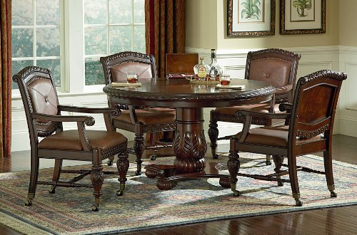 Buy Low Price Steve Silver Furniture Antoinette 5 Piece Dining Table Set in Multi-Step Rich Cherry (AY400T / AY400B / AY400CAS)