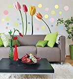 UberLyfe Colourful Tulips Wall Stickers (Wall Covering Area: 100cm x 110cm)
