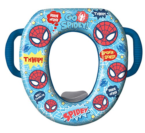 Marvel Ultimate Spiderman Potty Seat - Padded, Soft and Durable - For Regular and Elongated Toilets - Removable Cushion for Easy Cleaning - Firm Grip Handles - Blue - 1