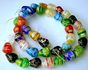 40pcs MIX Millefiori Lampwork Round Teardrop Beads 10mm ~Loose Beads~