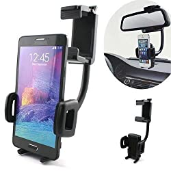 Geekercity® Adjustable Universal Car Back Rear View Rearview Mirror Mount Stand Holder for GPS Apple iPhone 6 Plus/6/5/5S/5C/4/4S, Samsung Galaxy S6/S5/S4/S3/S5 Mini/S4 Mini, Galaxy Note 4/3/2/Edge, LG tribute, G3/G2, opt