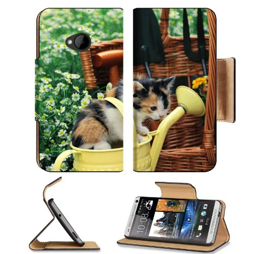 Kitten Watering Can Spotted Sitting Toddler Htc One M7 Flip Cover Case With Card Holder Customized Made To Order Support Ready Premium Deluxe Pu Leather 5 11/16 Inch (145Mm) X 2 15/16 Inch (75Mm) X 9/16 Inch (14Mm) Liil Htc One Professional Cases Accessor