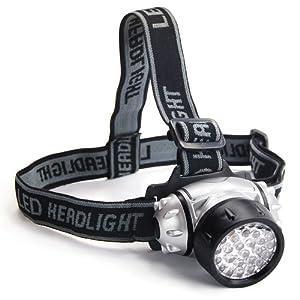 TRIXES Lampe torche frontale avec fonction flash équipée de 28 LED et résistante à l'eau