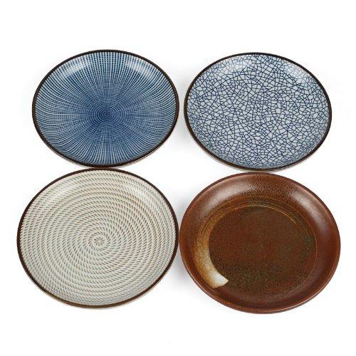 """Lagute Porcelain Dinnerware Plate Set Of 4 Pack Japanese Zen Style Dipping Sauce Dishes, For Appetizer, Dessert, Salad, Snack, Sushi, Fruit, Bread (Ice Cracks, Medium 3.8"""") (Ice Cracks) (6.5"""")"""