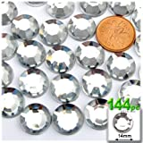 The Crafts Outlet 144-Piece Loose Flatback Acrylic Round Rhinestones, 14mm, Crystal Clear