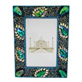 Indian Gift Photo Frame Handmade Lac Beaded Material Table Top Picture Frame Vintage Style Home Decor Single Photo...
