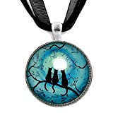 Three Black Cats Silhouette in Teal Moon Handmade Jewelry Art Pendant (Black Ribbon Necklace)