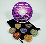 Blue Water Crystals Heart Shape 7 Stone Etched Engraved Each Chakra Symbol For Crystal Healing 1.15-1.25