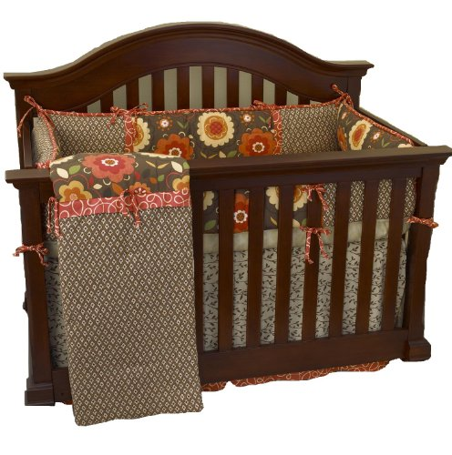 Cotton Tale Designs Peggy Sue 4 Piece Set, Coral/Brown, 20x20