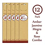 Panchratan Perfumed Charcoal Incense Sticks ( Pack Of 12, 23cms, Amber, Jasmine, Mogra And Rose Fragrance )