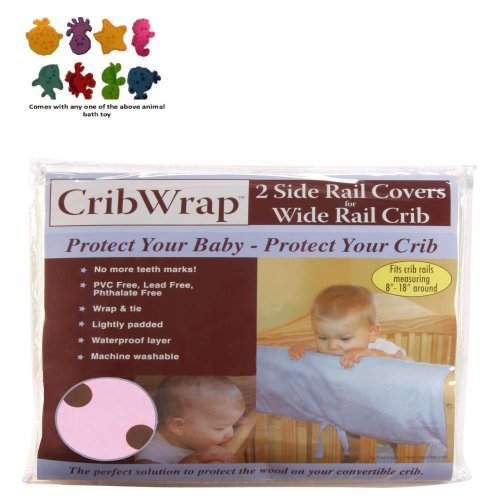 Cribwrap¨ Wide Rail Cover - Short Maya Dot Percale & Purchasecorner Toy Bundle front-77927