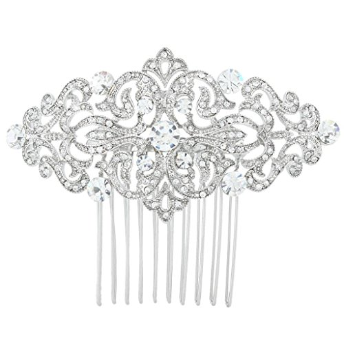 Art Deco Wave Bridal Hair Side Comb Clear Austrian