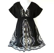 119 - Plus Size Dashiki Printed Babydoll Cover-Up Vacation Dress Black (2X)