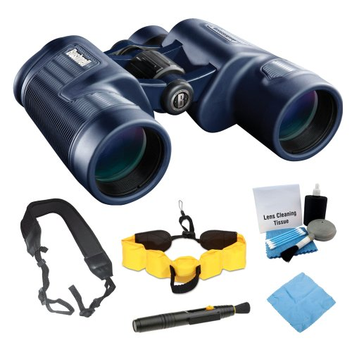 Bushnell 134218 Waterproof/ Fogproof Porro Prism 8X 42Mm Binocular In Black + Floating Foam Strap + Wide Strap + Accessory Kit