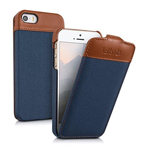 kalibri-Flip-Case-Hlle-Emma-fr-Apple-iPhone-SE-5-5S-Aufklappbare-Stoff-und-Echtleder-Schutzhlle-Tasche-im-Flip-Cover-Style-in-Blau-Braun