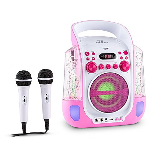 Auna Kara Liquida Impianto Karaoke CD USB MP3 Getto D'Acqua LED 2 x Microfoni Portatile