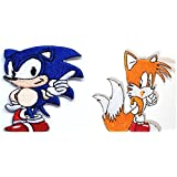 Sonic and Tails Patch Set Embroidered Iron on Badge Retro Gamer Costume Applique Cosplay Motif Bag Hat T-Shirt