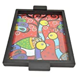 Puja Creations Beautiful Black Tray With Colourful Designs Of Peacocks