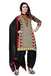 BanoRani Beige & Black Color Cotton Printed Patiala Unstitched Dress Material