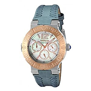 Invicta Angel 14745 40mm Gold Plated Stainless Steel Case Grey Calfskin flame fusion Women's Watch