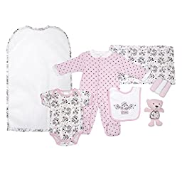 Cutie Pie Baby Girls 9 Piece Layette Gift Set in Tulle Bag Pink Demask 3-6 M