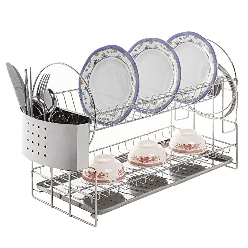 stainless steel 2 tier kitchen countertop dish rack plate cup air drying home ebay. Black Bedroom Furniture Sets. Home Design Ideas