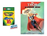 Thor Warrior Hero Coloring & Activities Book and 16 Crayola Crayons Box (Pack of 2)