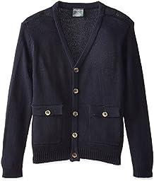 Eddie Bauer Big Boys\' V-Neck Cardigan Sweater, Navy, 14/16