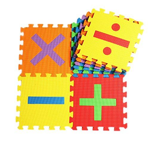 Bigood 16tlg. Spielmatte Kinderteppich Puzzlematte Spielteppich Schaumstoffmatte Farbig Zahl und Zeichen