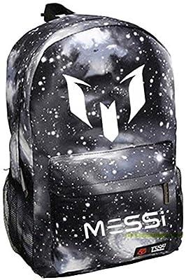 Tideshop Lionel Messi Logo Barcelona 10 Bag Casual Laptop Backpack Cosplay Schoolbag Sky Black