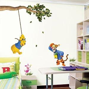 Winnie the Pooh & Tigger Children's Nursery Wall Stickers Easy Wall Decal Sticker -