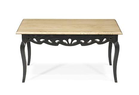 Table basse Hortense - 100% chêne massif - 88x50 H 45cm- couleur noir & naturel patiné