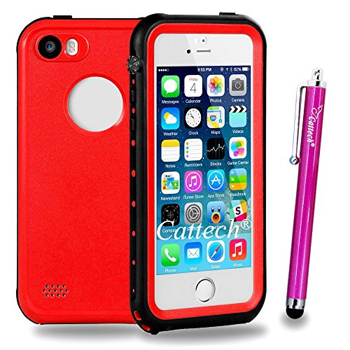 iPhone SE Waterproof Case,Cattech IP68 Dust Drop Snow Shock Proof [Built-in Scratch Protector] Underwater Hard Armor Rugged Full Body Sealed Heavy Duty Protective for iPhone SE/5/5s + Stylus (Red) (Flat Screen Scratch Repair Kit compare prices)