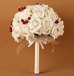 Cherry Wedding Bridal Bouquet High Quality Handmade Simulation Rose Bouquet,western Style Elegant Wedding Bouquet,wedding,business, Photography Props