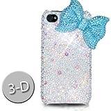 iPhone4/iPhone4S スワロフスキー(Swarovski)/3D リボンケース/カバー 青(Ribbon Blue)ハイクオリティー