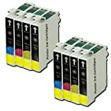 8 Compatible Printer Ink Cartridges To Replace T0711 - Black- For use with Epson Stylus SX515W SX218 SX215 SX115 SX200 S21 SX105 SX510W SX415 SX100 SX400 SX110 SX600FW SX405 SX210 S20 SX205 SX610FW SX410 Wifi DX4400 DX4450 D92 DX8400 DX4050 DX7450 DX7400
