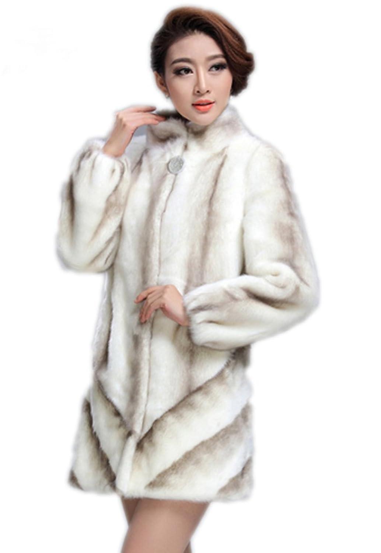 YR.Lover Damen wirklich Nerz Pelz Lang Winter Mantel&Jacke günstig
