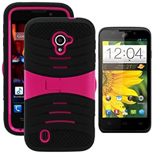 MINITURTLE, Premium Durable Rugged Shell Hybrid Protective Phone Case Cover with Built in Kickstand and Clear Screen Protector Film for Prepaid Straight Talk Android Smartphone ZTE Majesty Z796C /Verizon (Black / Pink)