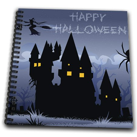 db_153155 Anne Marie Baugh Halloween - A Blue Haunted Halloween House With A Flying Witch And The Words Happy Halloween - Drawing Book halloween decor fake human bones lifelike plastic skeleton haunted house decorations props loose bones 28 pieces