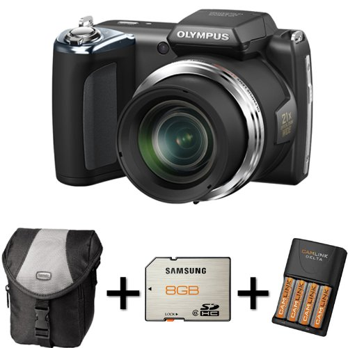 Olympus SP-620UZ - Black + Case + 8GB Memory Card + 4XAA Battery and Charger (16MP, 21x Wide Optical Zoom) 3 inch LCD