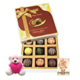 9pc Heavenly Treat Of Truffles With Birthday Card And Teddy - Chocholik Belgium Chocolates