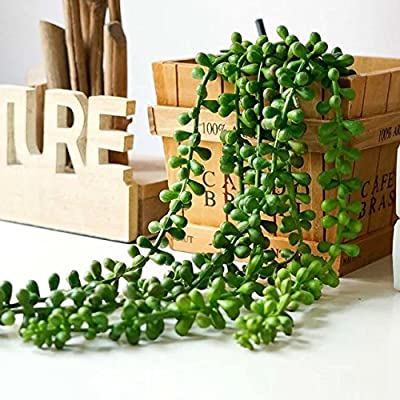 "Artificial Succulent Plants, String of Pearls, 28"" Hanging Basketplant, Lover Tears Plants"