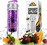 Fruit Infuser Water Bottle BPA Free - Hard Plastic, Safe Drinking, Eco Friendly - Great for Sports, Gym, Bike, Kids, School, Running, Fitness - Reusable, Cheap, Custom Style, Durable & Resistant, 27oz/800ml - Limited Time Bonus Best Recipes