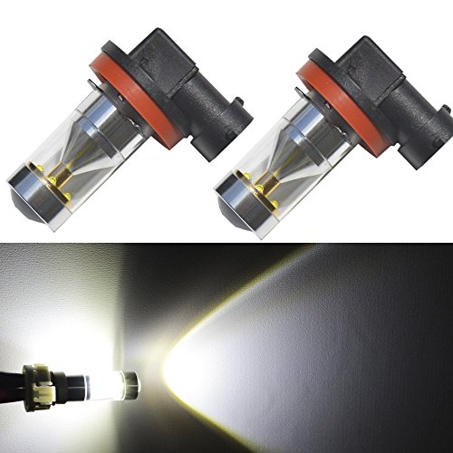 JDM ASTAR Extremely Bright H11 CREE LED Bulbs w/ Reflector Mirror for DRL or Fog Lights, Xenon White (Led Fog Light Bulb compare prices)